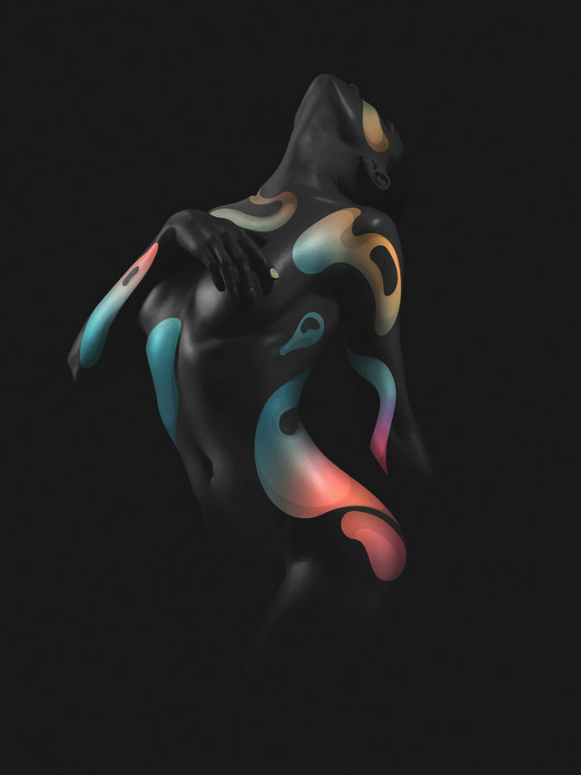 Elegant nude model in the light colored spotlights